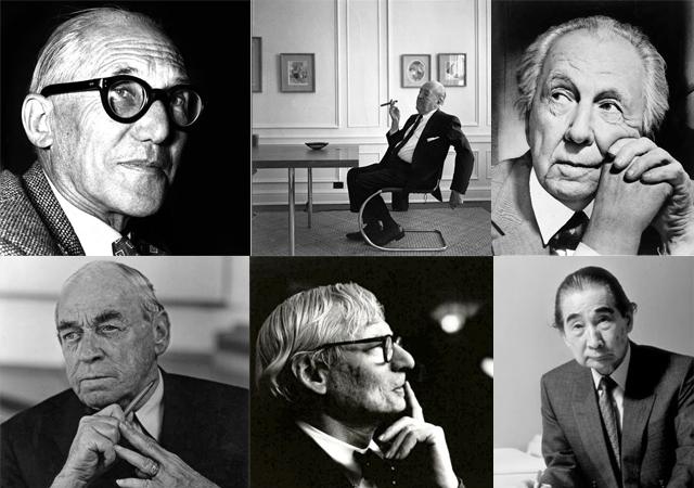 写真は、建築に関心のある方なら誰もがご存知の、近代建築の巨匠達(左上からル・コルビュジエ、ミース・ファン・デル・ローエ、フランク・ロイド・ライト、アルヴァ・アアルト、ルイス・カーン、丹下健三)