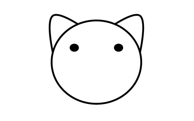 3.顔のパーツ(目・ひげ)を作る その1