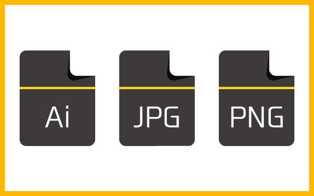 ロゴデザの納品ファイルはJPG、PNG、AIファイルだから便利