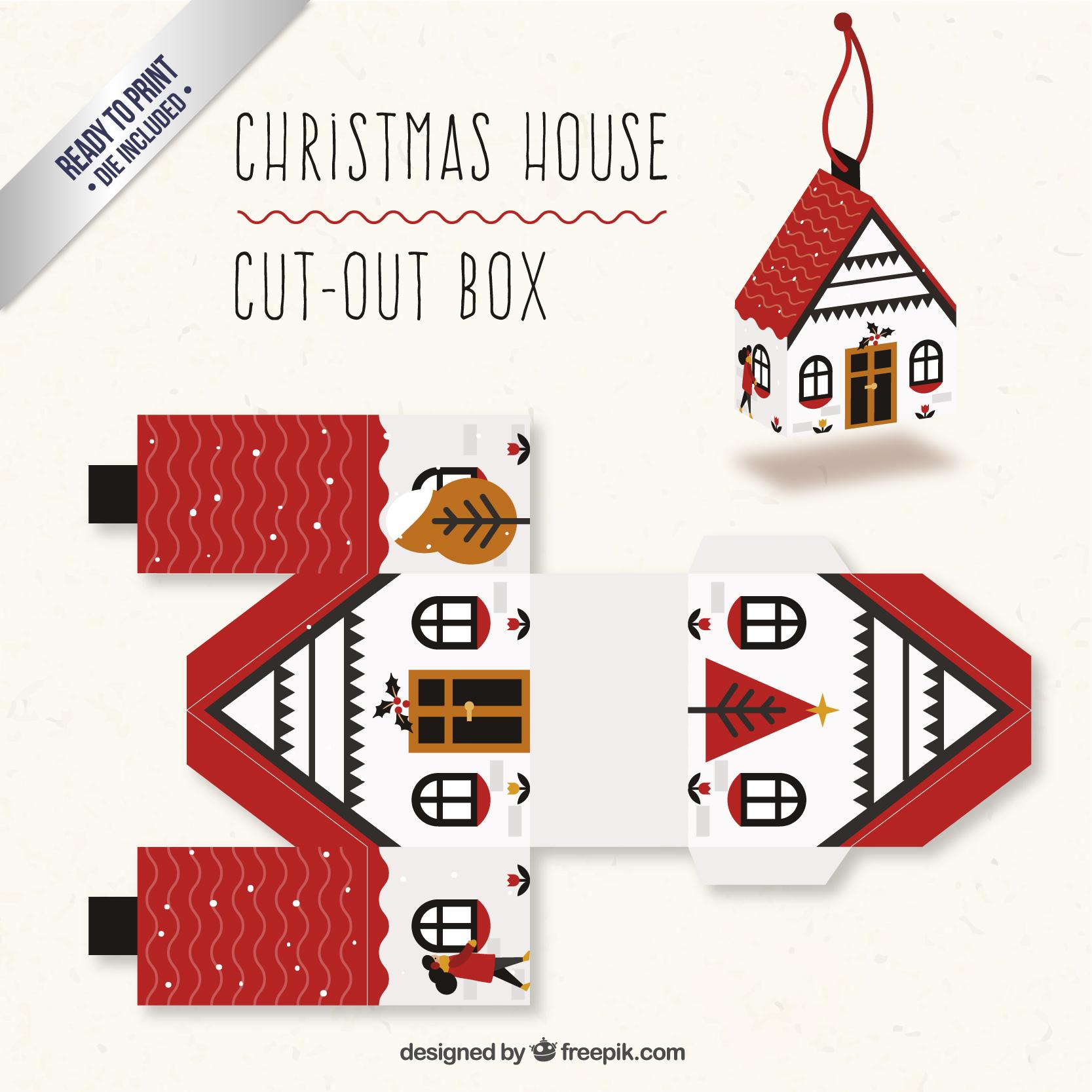 クリスマスのお家のオリジナルギフトボックス