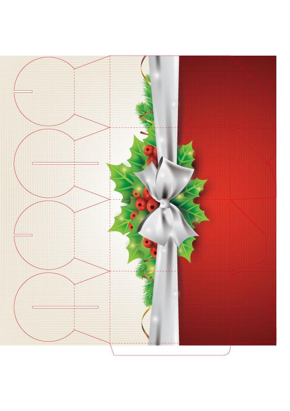 オリジナルクリスマスギフトボックスのテンプレート素材1